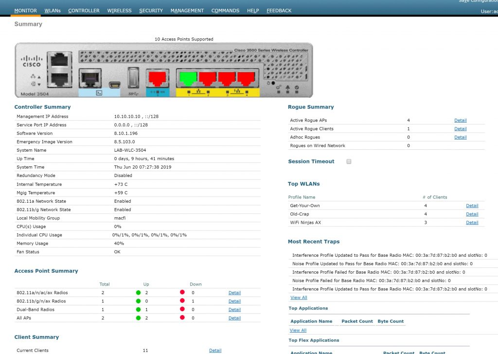 Cisco WLC3504 running AireOS 8.10