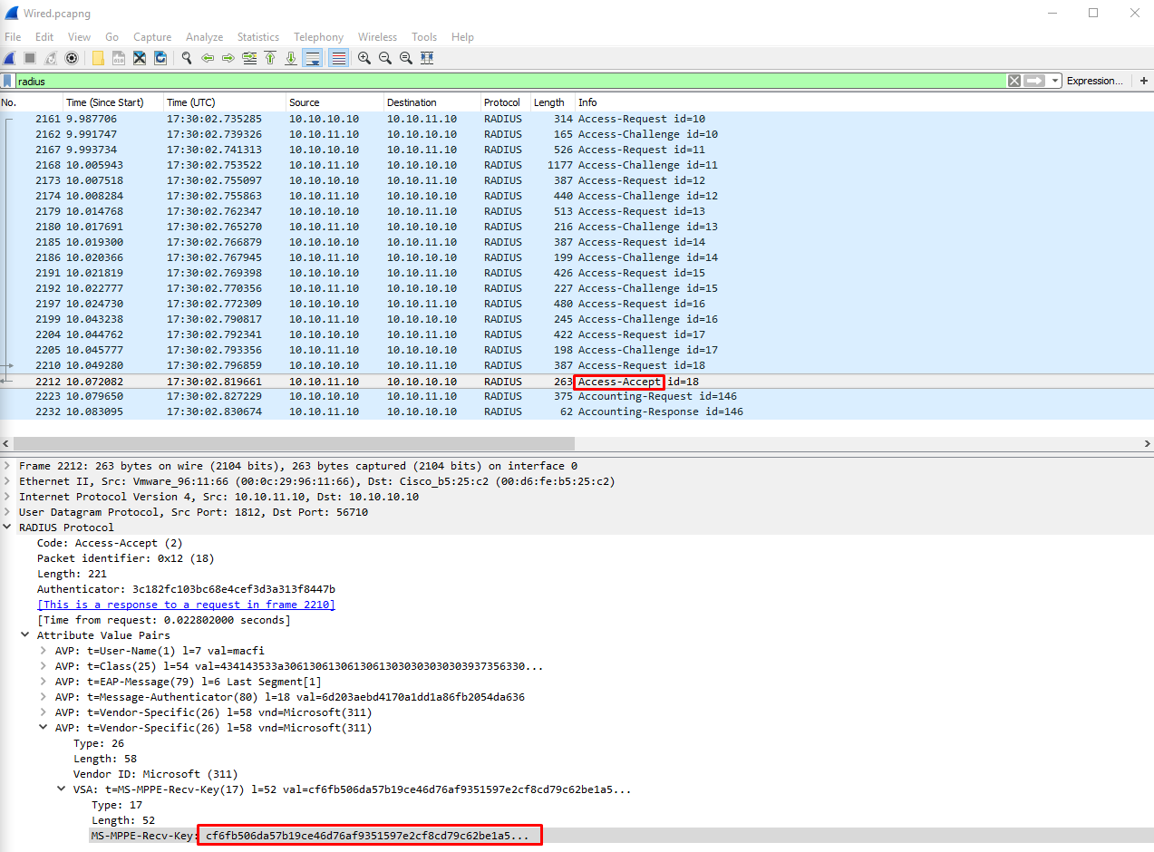 MS-MPPE-Recv-Key value from Access-Accept wired RADIUS capture