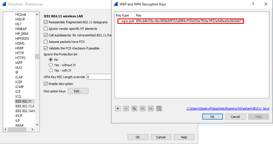 Provide Wireshark with extracted PMK in 'Edit > Preferences > Protocols > IEEE 802.11 > Decryption keys > Edit'