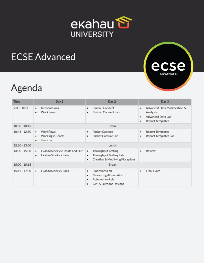 ECSE Advanced Agenda