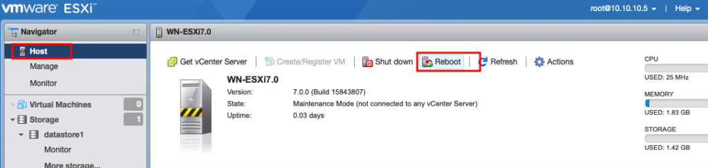 vmware ESXü  Navigator  Manage  Monitor  6] Wtual Machhes  Storage  WN-ESXi7.O  G) Get vCenterServer I b Create/Register VM I  I Refresh I  WN-ESXi7.O  Version:  Uptime:  7-0.0 (Build 15843807)  Maintenance Mode (not connected to any Center Server)  0.03 days